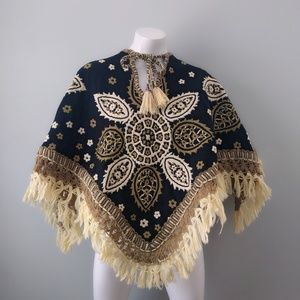 Vintage Swedish Reversible Wool Floral Cape S M L